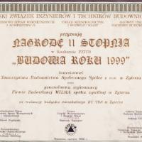 """Nagroda II stopnia w konkursie PZITB """"Budowa Roku 1999"""" za realizację budynku mieszkalnego B1"""